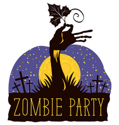 halloween lettering with zombie hand on cemetery vector image vector image
