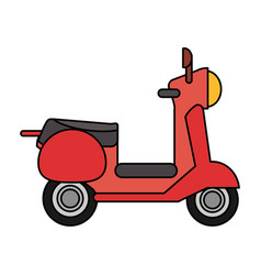 Red scooter transport vehicle image vector