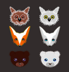 set of wild animals stickers vector image vector image