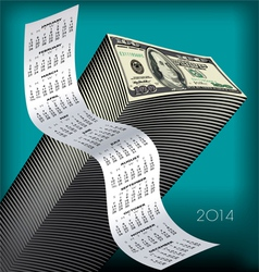 2014 Tall Wavy Calendar Money vector image