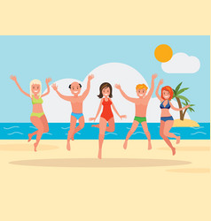 a group of young people jumping vector image