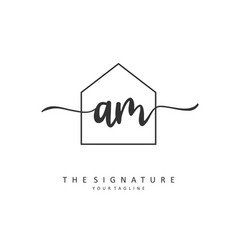 A m am initial letter handwriting and signature vector