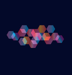 abstract hexagon geometric colorful element vector image