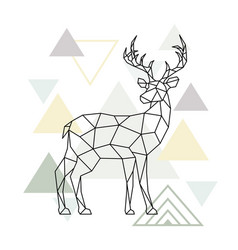 abstract scandinavian geometric deer polygonal vector image