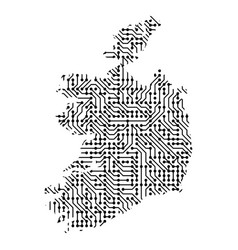 abstract schematic map of ireland from the black vector image
