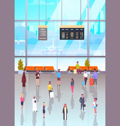 Airport interior with passangers crowd walking to vector