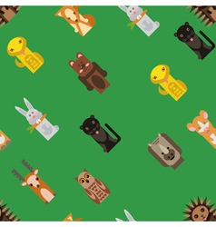Background with flat animals toys vector