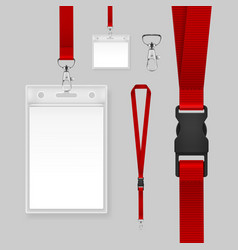 Badges with red lanyards vector