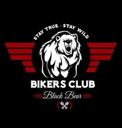 Bear bikers club tee print design t-shirt vector