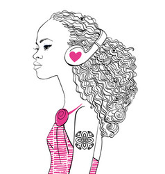 beautiful girl with headphones vector image
