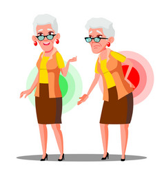 Bent over old woman from back ache sciatica vector