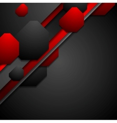 Black and red tech background with geometric vector
