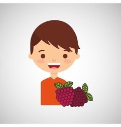 Boy smiling cartoon with raspberry icon design vector