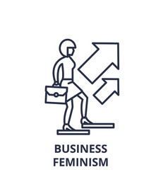 business feminism line icon concept business vector image