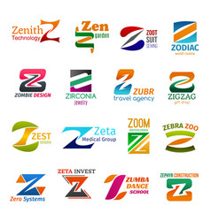 Business icons letter z corporate identity vector