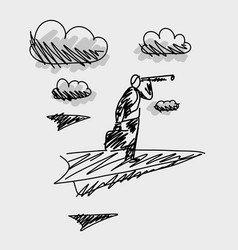 businessman balancing on the paper airplane vector image