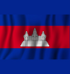 cambodia realistic waving flag national country vector image