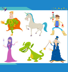 cartoon fantasy monster and alien characters set vector image