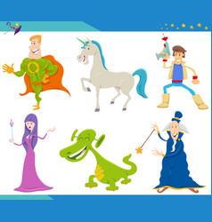 Cartoon fantasy monster and alien characters set vector