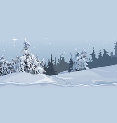 Cartoon grey winter forest of snow-covered trees vector