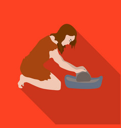 Cavewoman with grindstone icon in flate style vector