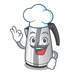 Chef plastic electric kettle isolated on cartoon vector