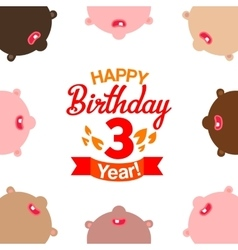 Children celebrating third year birthday vector