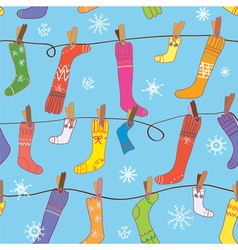 Christmas pattern with socks seamless vector image