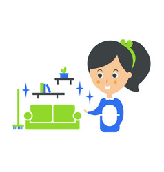 Cleanup service maid and clean living room vector