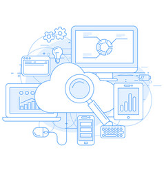 Cloud computing service and internet abstract desi vector