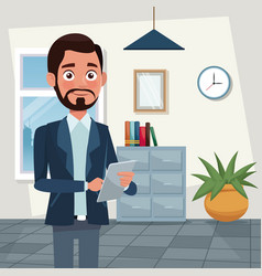 color background workplace office half body vector image