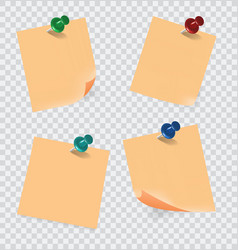 Colored sticky notes paper with push pin vector