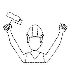 construction worker with paint roller avatar vector image