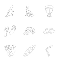 Country Australia icons set outline style vector image