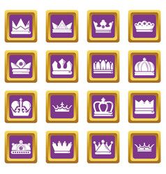 Crown gold icons set purple square vector