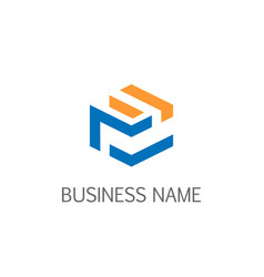 cube line technology business logo vector image