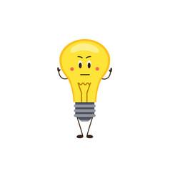 Cute cartoon icon or emoji electric bulb flat vector