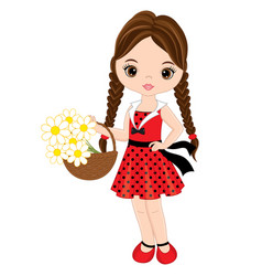 Cute little girl with basket of flowers vector