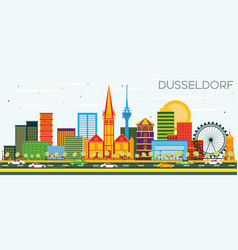 dusseldorf skyline with color buildings and blue vector image