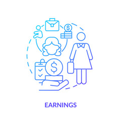 Earnings blue gradient icon vector