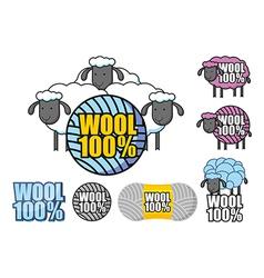 Emblem wool sheep vector