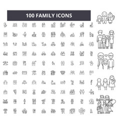 family editable line icons 100 set vector image