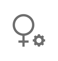 Female gender symbol grey icon isolated on white vector