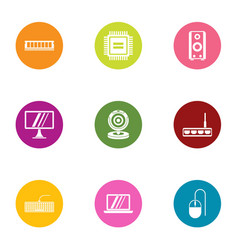 Filmmaking screen icons set flat style vector