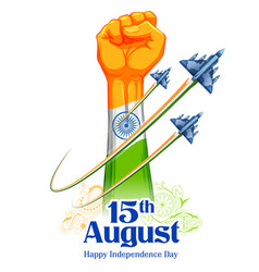Fist showing power in tricolor indian flag vector
