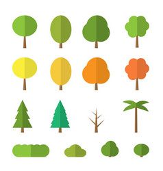 flat trees on white background vector image
