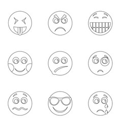 Front side icons set outline style vector