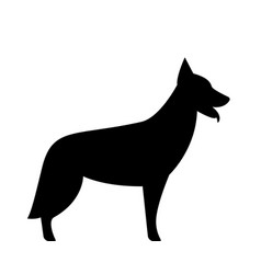 german shepherd dog silhouette black and white vector image