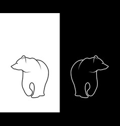 Graphic print of bear silhouette black and white vector