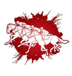 group jockeys riding horse sport vector image